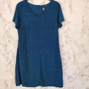 4/$25 BOBEAU Velvet Mini Dress Short Sleeve Blue L